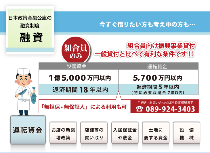 日本制作金融公庫の融資制度、組合員向け進行事業貸付、一般貸付と比べて有利な条件です!!、無担保・無保証人による利用も可